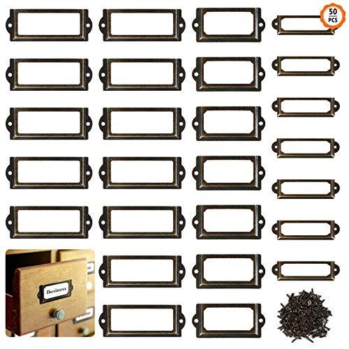 50Pcs Etikettenrahmen Metall Etikettenhalter Vintage Metall Etikettenrahmen Vintage Label Rahmen Etikettenrahmen Namensschild für Schublade Apothekerschrank(3 Größen)