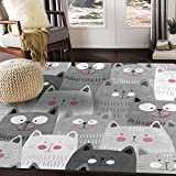 ALAZA Gray Hipster Cat Kitten Area Rug Rugs for Living Room Bedroom 7'...