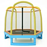 Blanketown 7 FT Kids Trampoline with Safety Enclosure Net ,Indoor&Outdoor Trampoline for Kids, Mini Round Bounce Jumper 7 Foot,Great Kids Gift