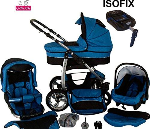 Chilly Kids Dino Kinderwagen Safety-Set (Autositz & ISOFIX Basis, Regenschutz, Moskitonetz, Getränkehalter, Schwenkräder) 11 Blau & Schwarz