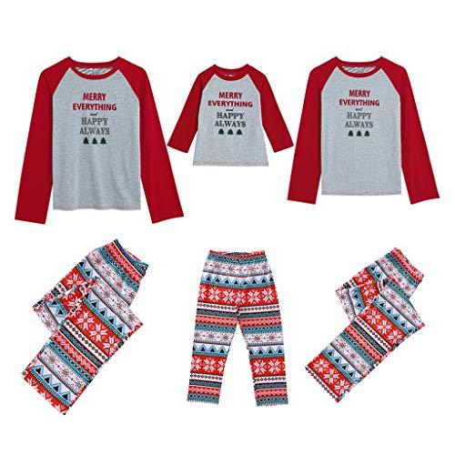 Holeider Weihnachten Pyjama Familie Outfit Set Matching Lange Ärmel Brief drucken Bluse + Hosen Pyjama Set Xmas Weihnachts Schlafanzüge Nachtwäsche Feiertag Suit für Damen Mädchen Jungen