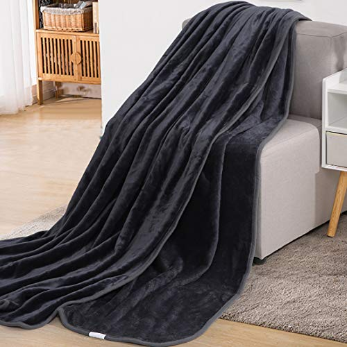 Fraylon Blanket Queen Size All Season Cozy Microfiber Warm Lightweight Fleece Winter Soft Blankets for Sofa Couch Bed(Dark Grey,90x90 Inch)