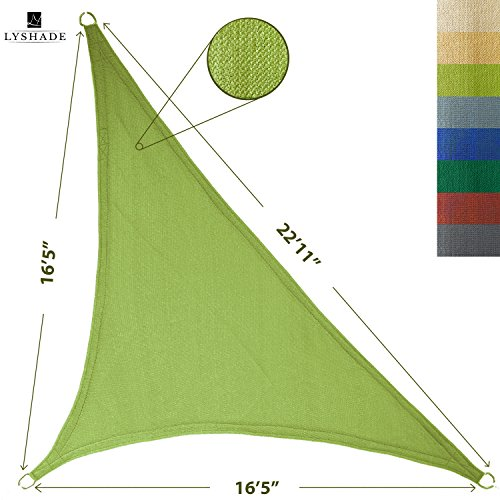 LyShade 16'5' x 16'5' x 22'11' Right Triangle Sun Shade Sail Canopy (Lime Green) - UV Block for Patio and Outdoor