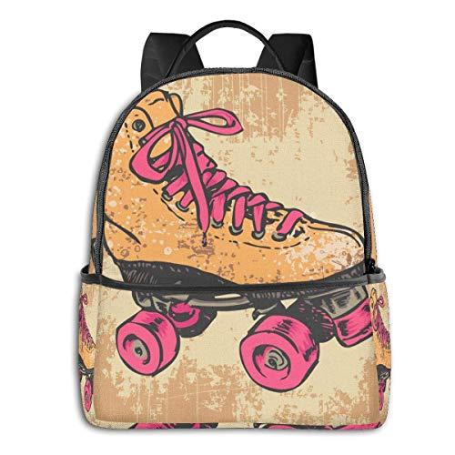 Rucksack für die Schule, große Kapazität, für Camping, Picknick, Fahrrad, Retro-Hahn, Camping, Outdoor, Rucksack für Frauen, Männer, Geschenk für die Schule Retro Rollschuhe Einheitsgröße
