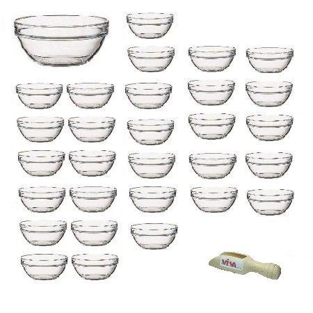 Viva Haushaltswaren - 30 x Mini-Schüssel aus Glas (Ø 6 cm), als Glasschälchen sowie als Dipschale, Dessertschale, Tapasschale geeignet (inkl. kleiner Holzschaufel 7,5 cm)
