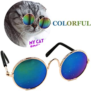 Stock Show Funny Cute Dog Cat Retro Fashion Sunglasses Round Metal Sunglasses Eye-wear Protection Puppy Cat Costume Sun Glasses Pet Photos Props for Small Dog Cat