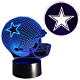 PMS 3D LED Dallas Cowboy Helmet & Star Lamp with USB 7 Color Changing Lights for Night Table Bedroom Kids Decor NFL Gift