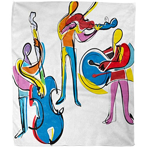 Fleecedecke Bunte Musik Popart Abstrakte Musiker Jazz Malerei Kubismus Violine Instrument Decke 102X127Cm Decke Warmes Sofa Fuzzy Soft Bed Fleece Decke Office Hotel Wohnzimmer
