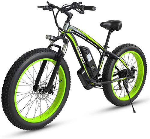 Electric Bike Electric Mountain Bike, 500W Motor, eBike MX02, E-Bike, 48 V, 17 AH for The Jungle Trails, The Snow, The Beach (Color : Green, Size : 500w)