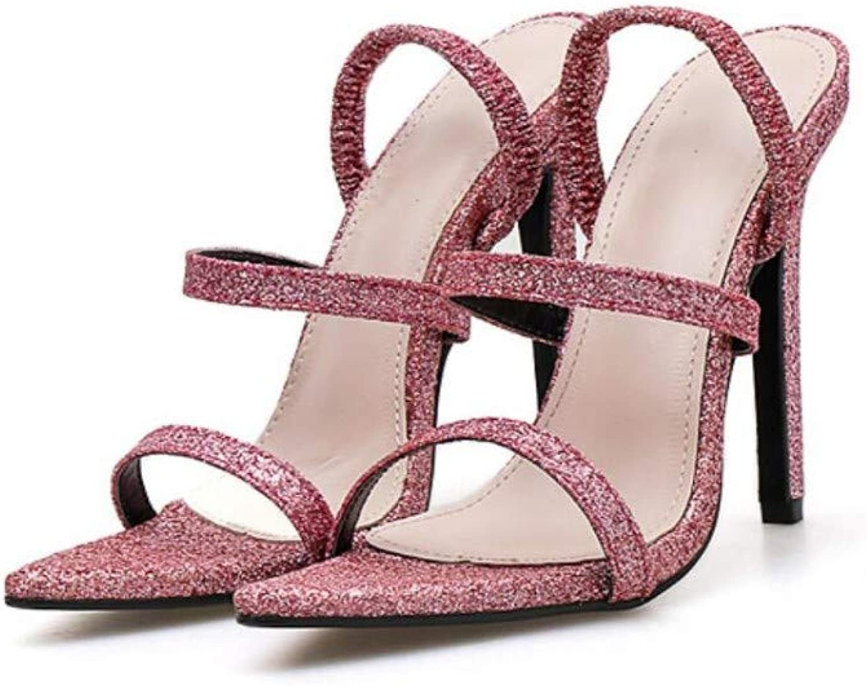JQfashion Women's High Heel Sandals Sexy Pointed Stiletto Sequins