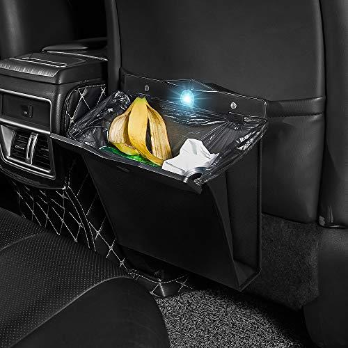 Car Trash Can Waterproof Collapsible Garbage Bag Artificial Leather Storage Pocket Leak Reusable Traveling Portable Seat Back Garbage Bin Hanging(Black-L Size)