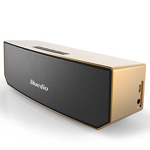 Bluedio BS-3 - Altavoz inalambrico portatil para moviles (Bluetooth 4.1, 20 Hz- 20 KHz, 10 W), color dorado