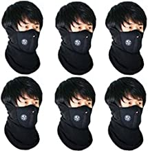 Black Men Face Mask 6pcs Combo for Bikers Dust Protection Fabric
