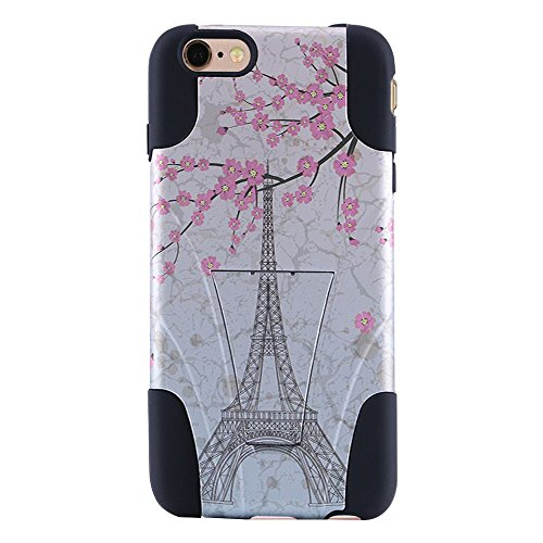 AMZER Kickstand Case for iPhone 6 Plus, 6s Plus - Retail Packaging - White Vintage Eiffel Tower Paris Sakura Floral