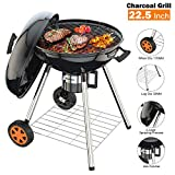 TACKLIFE 22.5 Inch Charcoal Grill for Outdoor Barbecue, Camping Kitchen, Portable Barbecue, CG02A.