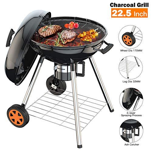 TACKLIFE Gril au Charbon de Bois de 22,5 Pouces pour Barbecue d'extérieur, Cuisine de Camping,...