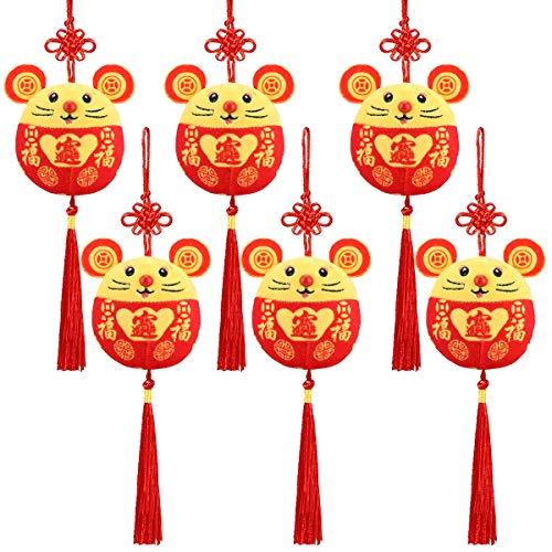 Welltop Chinesisches Neujahr Rote Ratte Ornament Dekorationen Jahr der Maus Festival Dekoration Viel Glück Plüsch Rote Maus Kuscheltier Tisch Regal Dekor Haus Figuren 6PCS