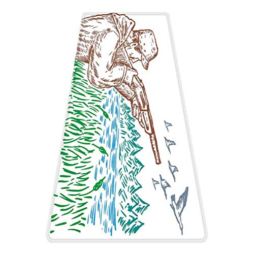 Hunting Decor Rug Runner,Hunter Aiming at Geese Lake Trees and Grass Greenery Forest Swamp Sketch Art Decorative,for Living Room Bedroom Dining Room,4'x 2',Multicolor