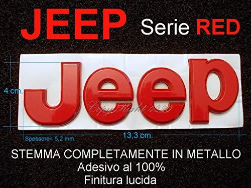 JP Jeep Stemma Rosso Red Lucido Fregio Logo Scritta Emblema Badge Lettere