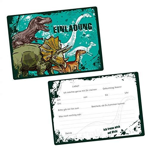 5 coole Einladungskarten Dinosaurier T-Rex Triceratops inkl. 5 transparenten Briefumschlägen - Kindergeburtstag