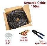 MutecPower Cable de Red ethernet Cat5E Exterior - con Herramienta de crimpado - FTP - CCA - (100 Metros)
