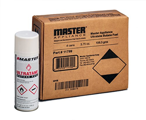 Master Appliance 11799 Ultratane Premium Butane Fuel, Triple Refined Non-Clogging Formula, 106 grams, 3.75oz, Lighter Refill Gas, Made in the USA (Pack of 4)