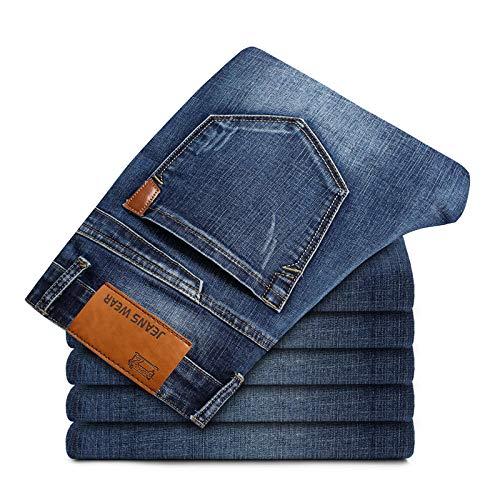 Jeans Pantalon Herren Stretch-Fit Jeans Business Casual Classic Style Mode Jeanshose Männlich Schwarz Blau Grau Hosen-Blau_36