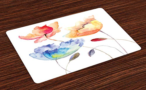 Ambesonne Watercolor Flower Place Mats Set of 4, Summer Flowers in Retro Style Painting Effect Nature is Art, Washable Fabric Placemats for Dining Table, Standard Size, Pink Yellow