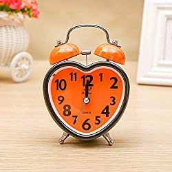 RPLW Small Analog Twin Bell Alarm Clock,Heart-Shaped Alarm Clocks for Bedrooms,Cute No Ticking Twin Bell with Backlight Alarm Clock for Teens Orange 9.2x5.2x12.6cm