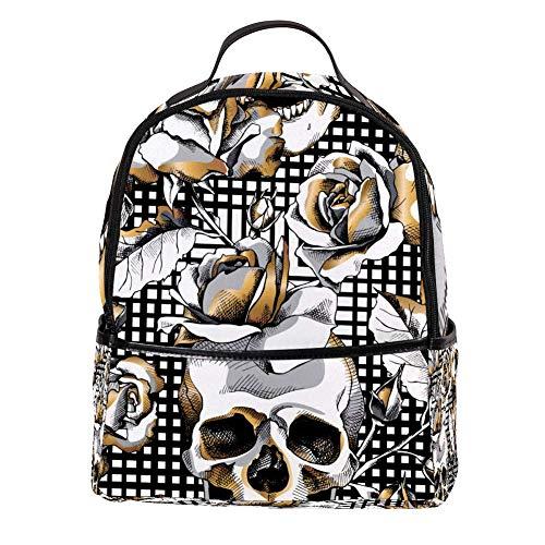 TIZORAX Golden Skull en Rose op geruit Laptop Rugzak Casual Schouder Daypack voor Student School Bag Handtas - Lichtgewicht
