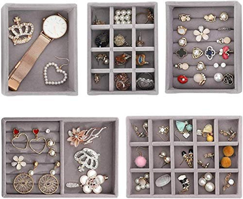 5 Unidades Bandeja de exhibición de joyería de Terciopelo Gris Cajón de joyería apilable...