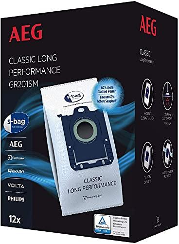 AEG GR201SM Mega Plack Bolsa S-Bag Classic Long Performance, Papel, Sintético, Azul, Blanco
