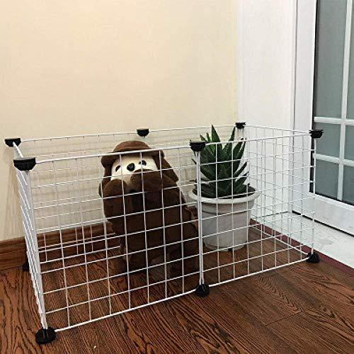 N / A Cajón portátil Bricolaje para Mascotas Pet Caja DIY Cerca de Alambre retráctil de la Perrera para Mascotas Jaula del Conejo de Conejo Cachorro Pluma White_with_Door_10_Pieces,8