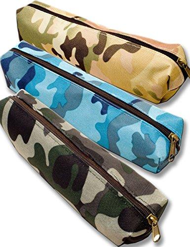 OutdoorSaxx Outdoor Saxx® - Schreib-Tasche Feder-Mappe, Tasche für Schule Uni Ausrüstung Schreibzeug Stifte (Camouflage Marine)