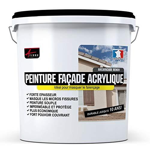 Peinture Façade Acrylique 14 Couleurs - Durable jusquà 10 ans - Rénovation Façade, mur crépi - ARCAFACADE RENOV - Blanc Cassé (Ral 9001) - 10L (+ ou - 60m² en 1 couche) - ARCANE INDUSTRIES