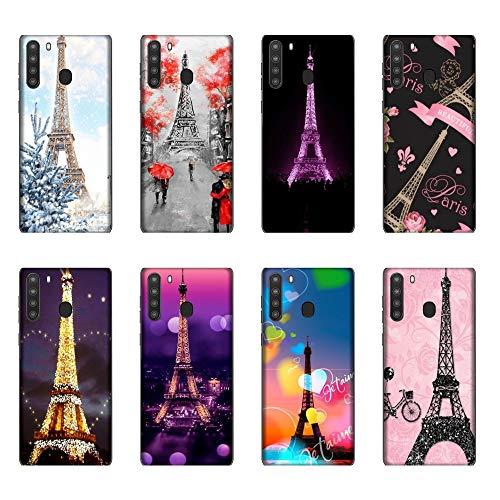 Funda Galaxy A21 Carcasa Compatible para Samsung Galaxy A21 Torre Eiffel Negro con Bicicleta/Imprimir también en los Lados/Teléfono Duro A presión Antideslizante Antideslizante Antiarañazos Re