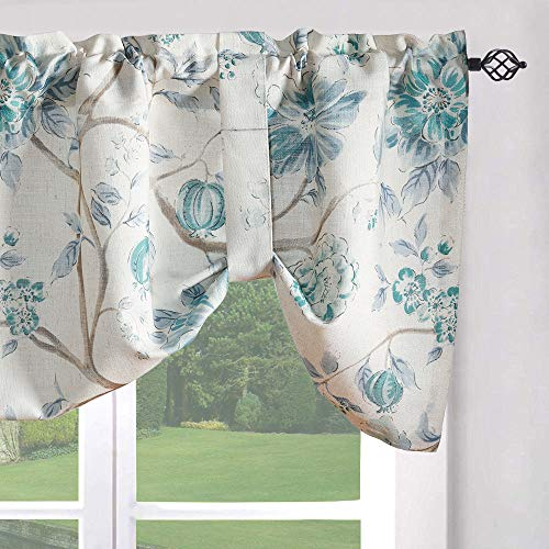 Leeva Tie-up Shade Curtains Valance for Bedroom, Rustic Flowers Pattern Light Filtering Window Treatment Valances for Porch, One Panel, 52x18, Blue