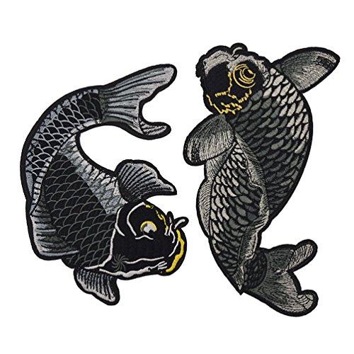 Kesheng 1 Paar Aufbügler Aufnäher Koi Stickerei Schwarz Patches Flicken Kleidung