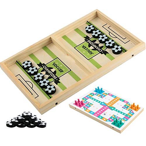 Wisson 2 In 1 Fast Sling Puck Spiel und fliegendes Schachspielzeug, Desktop Sports Brettspiel für Familienspiel Nacht Spaß für Kinder & Erwachsene