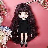HYZM Blythe Doll 1/6, 19 Joints Blythe Muñeca + Maquillaje Cara + Ropa + Ojos de 4 Colores + 9 Pares de Manos, Cabello Largo y Rizado Negro