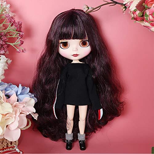 HYZM Blythe Doll 1/6, 19 Joints Blythe Puppe + Make-up + Vollständige Kleidung + 4 Farben Augen + 9 Paar Hände, Schwarzes lockiges langes Haar