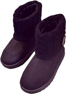 [GoldFlame-JP] ムートンブーツ レディース スノーブーツ 裏起毛 あったか ショート 防寒 保温 カワイイ ムートンブーツ ショート カワイイ ニット キュート ブラック ブラウン 女性 キュート ブーツ
