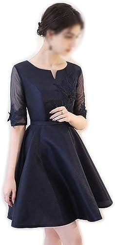 FELICIOO Mode élégante Dentelle Maille Petite Robe de soirée Une Ligne-Robe de soirée Robe Courte pour Les Femmes