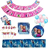 GK Galleria Frozen Birthday Party Supplies for 12 Princesses with 60 Plus Items - Birthday Party Supplies - Frozen Party Supplies - Princess Birthday Party Supplies - Princess Party Decorations - Anna Olaf Elsa