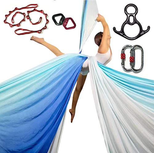 DASKING Premium Aerial Silks Equipment - Safe Deluxe Aerial Kit (Multicolor-D)