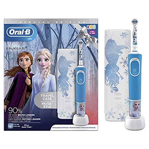 Oral-B Kids Spazzolino Elettrico Ricaricabile, 1 Manico con Personaggi Disney Frozen 2, 1 Custodia da Viaggio, dai 3 Anni in Su