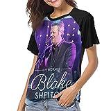 Gordon M Albers Blake Shelton Women Baseball T Shirt Round Neck Tops Casual Shirt Black