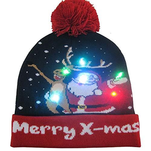 Walant LED Weihnachten Hut,LED Leuchten Hut Mütze 7 Bunte LED Xmas Weihnachten Hut Beanie Mütze Warme Wintermütze Strickmütze Hässlich Urlaub Party Geschenk Kappe Hut für Männer Frauen Kinder