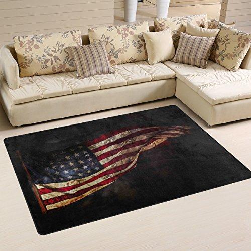 yibaihe, leicht, bedruckt mit Deko-Teppich, Teppich, modern, amerikanische Flagge und wasserabweisend stoßfest. Für Wohn- und Schlafzimmer, 153 x 100 cm