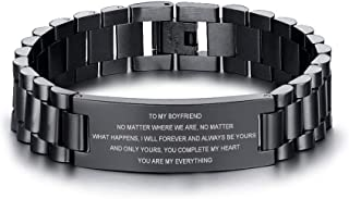 MEALGUET to My Boyfriend Love Quote Engraved Stainless Steel Link Wristband Bracelets for Lover Boyfriend Valentine's Day Christmas